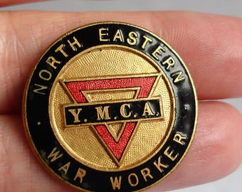 WW2 Vintage North Eastern YMCA War Worker Enamel Lapel Badge Pin 1940 Young Mens Christian Association Memorabilia Home Front