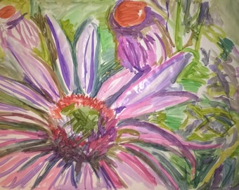 Purple flower water color painting.