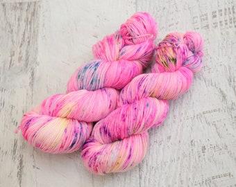 Neon Speckled Fingering Weight Sock Yarn (80/10/10 Superwash Merino / Cashmere /Nylon) hand dyed in fluorescent pink, green & purple - 100 g