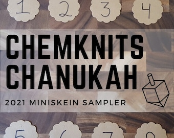 2021 ChemKnits Chanukah Sampler - 10g Mini-Skieins to Unwrap While Watching New Yarn Dyeing Videos; 100 g total weight in DK or Sock