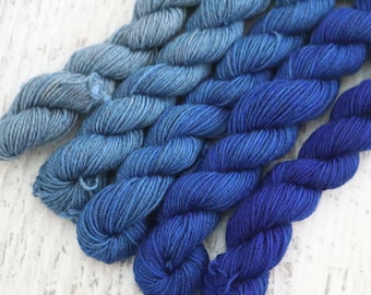 Set of 5 Miniskeins of Sock Yarn (70/20/10 Superwash Merino/Yak/Nylon) Fade Set in shades of blue - 100 g total