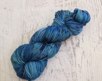 Speckled Variegated Fingering Weight Sock Yarn (75/25 Superwash Merino/ Nylon) Hand Dyed in Blues with Deep Speckles - 100 g