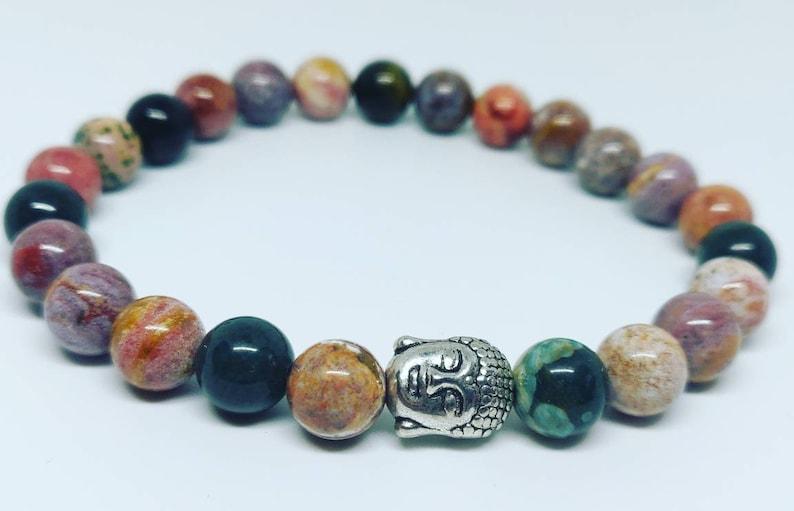Ocean jasper bracelet brown bracelet Beaded bracelet Buddha bracelet