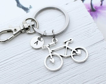 Engraved Bicycle Keychain Customized Gift for Cyclist Initial Keychain Cycling Personalized Bike Keychain Sport Keychain Monogram