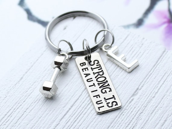 Dumbell Keyring Strong Is Gym Keyring Fitness Keychain Charms Gym Accessory