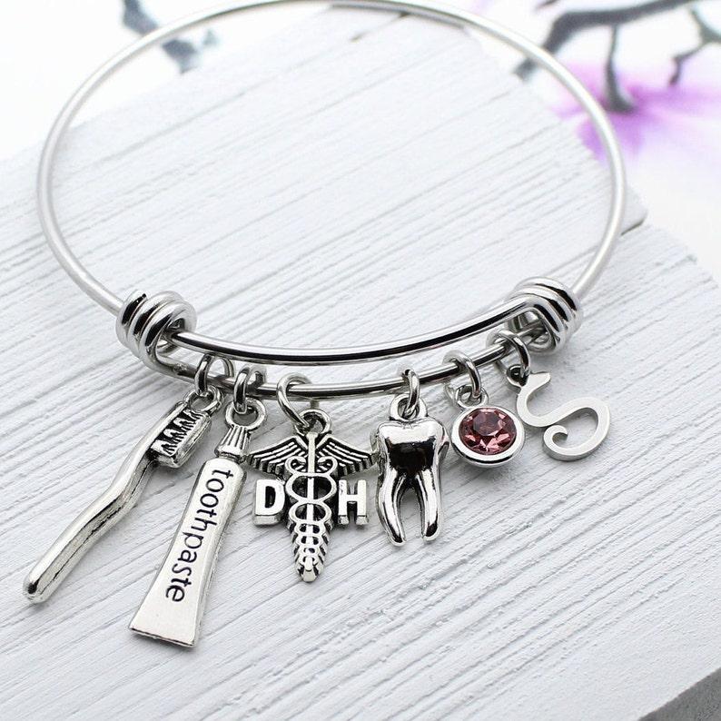 Dental Bracelet Personalized Jewelry Gift for Dentist Dental Hygienist Charm Bangle Bracelet Dental Hygienist Graduation Gift Idea