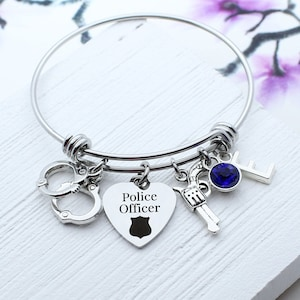 Law Enforcement Gift for Police Graduation Gift Personalized Police Charm Bangle Bracelet Police Bracelet Police Collection Jewelry