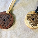 Hardwood Odin's Horns Pendant Necklace - Unique Viking Triskelion Triskele - Maple or Walnut Old Norse Amulet
