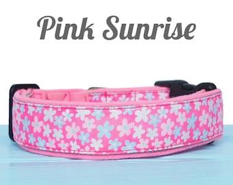 Pretty pink nylon dog collar with a soft lining and flower pattern   Girl dog collar, medium dog collar