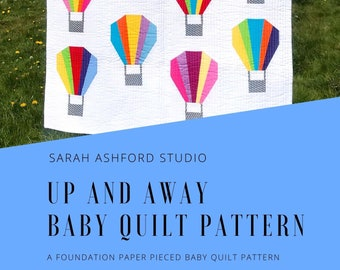 Up and Away Baby Quilt Pattern PDF download, Foundation Paper Piecing, Paper Pieced Pattern, Quilt Pattern, Baby Quilt, Modern Quilt Pattern
