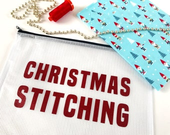 Project pouch, Christmas Stitching, zipper pouch, craft storage, bag, glitter, travel bag, craft case, sewing,  Christmas bag, sparkle