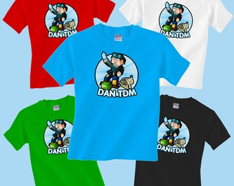 d39c534d Dan TDM with Dogs Childrens T-Shirt Gamer Youtube Boys Girls Tee Minecraft  Advertures DANTDM Tshirt Top Kids