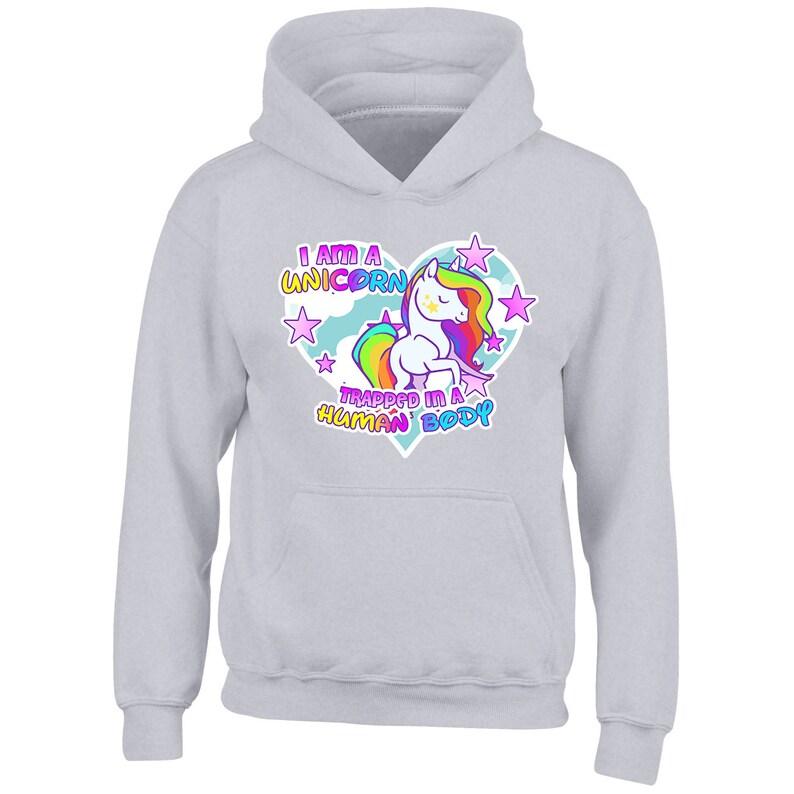 I am a unicorn trapped in a human body Rainbow Girls Hoodie Kid Gift Hoody Xmas
