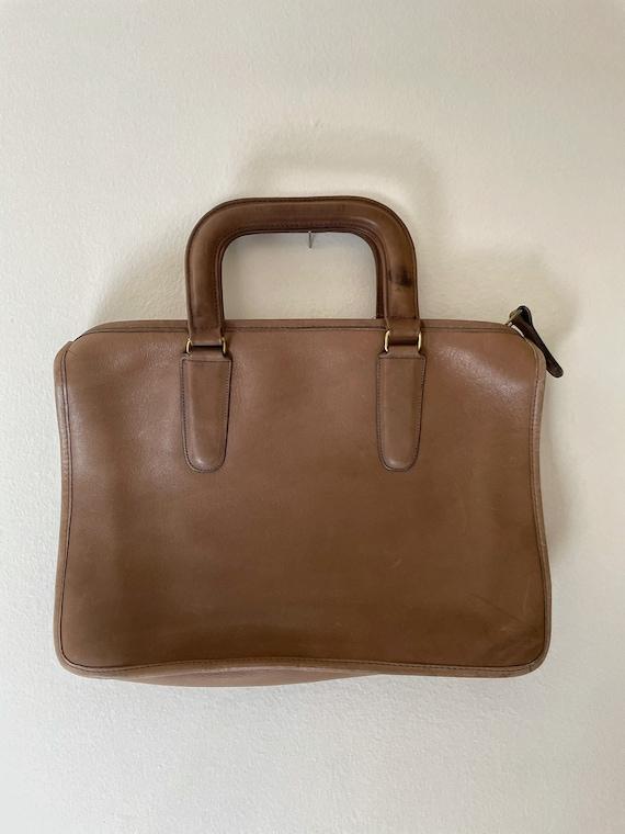 1970s Coach Tan Leather Brief Case Purse// Vintag… - image 2