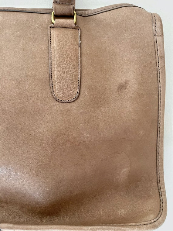 1970s Coach Tan Leather Brief Case Purse// Vintag… - image 7