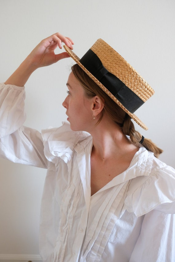 1920s Straw Boater Hat// Classic Vintage Handmade