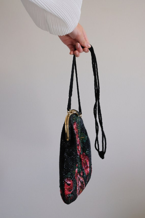 1980s does the 1950s Beaded Rose Purse// Vintage … - image 3