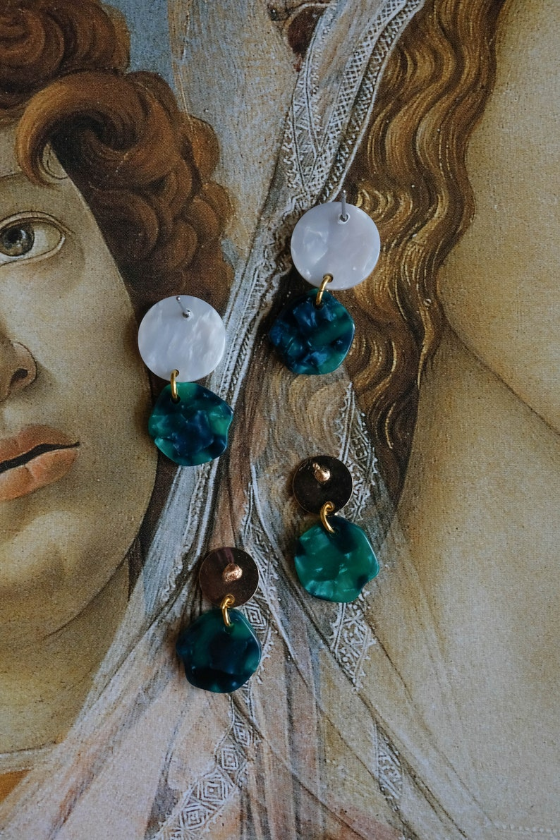 SALE White and Green Acrylic Tortoise Shell Dangle Earrings Artemis Earring of the Primavera Collection