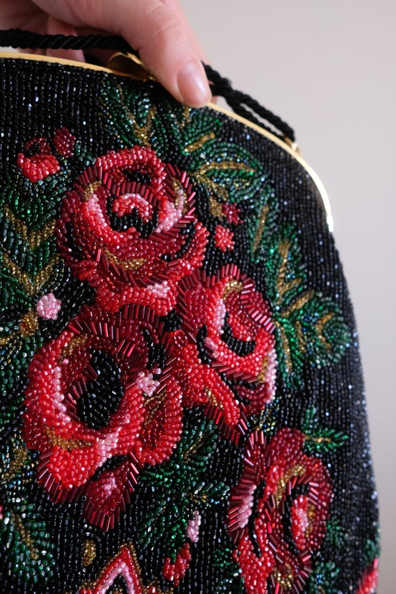 1980s does the 1950s Beaded Rose Purse// Vintage … - image 5