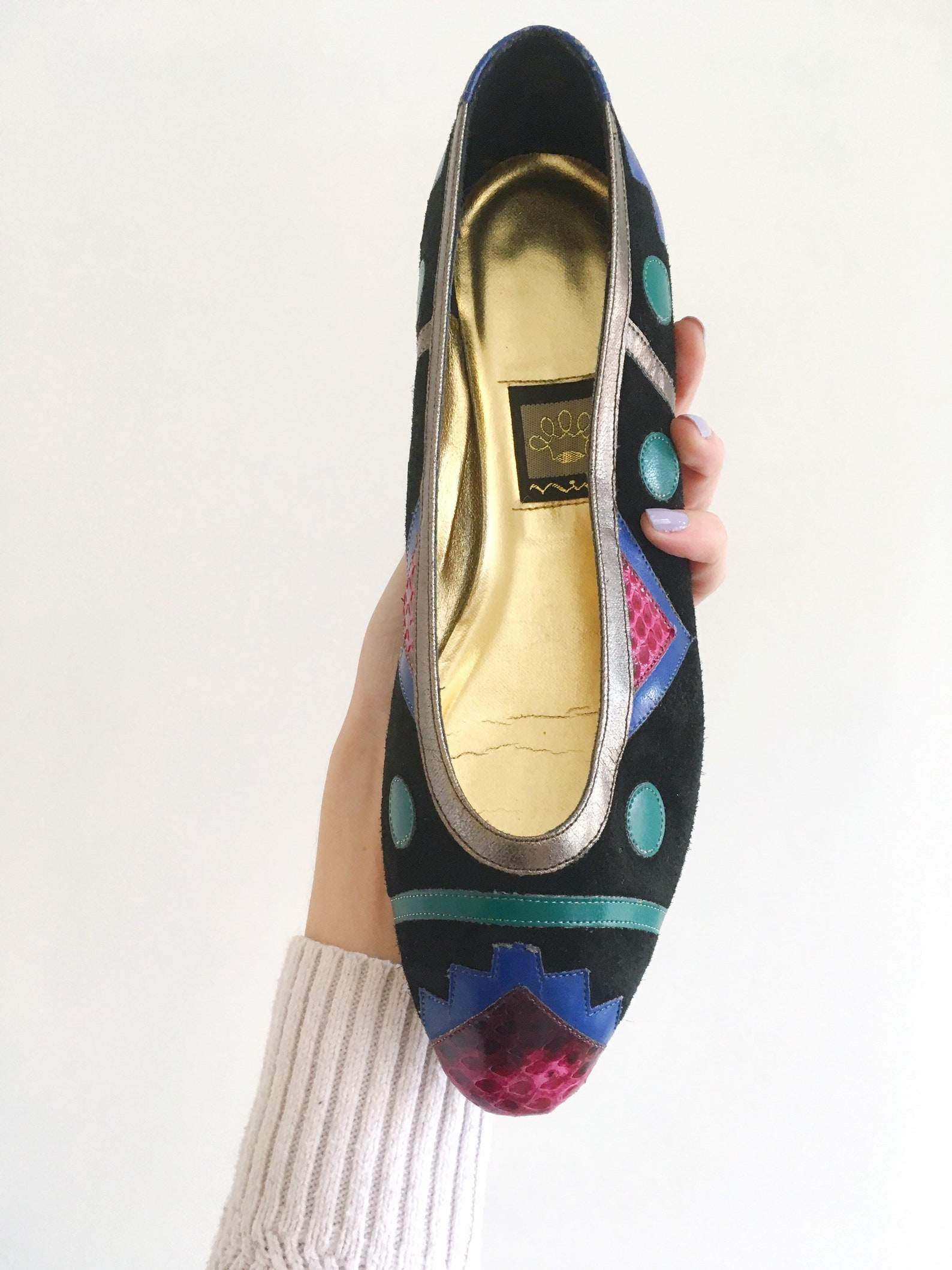 vintage 1980's colorful ballet flats// size 8-1/2 color block slide on shoes//