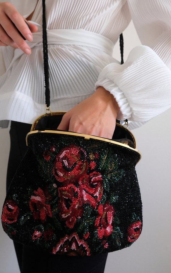1980s does the 1950s Beaded Rose Purse// Vintage … - image 9