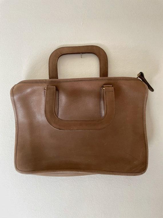 1970s Coach Tan Leather Brief Case Purse// Vintag… - image 3