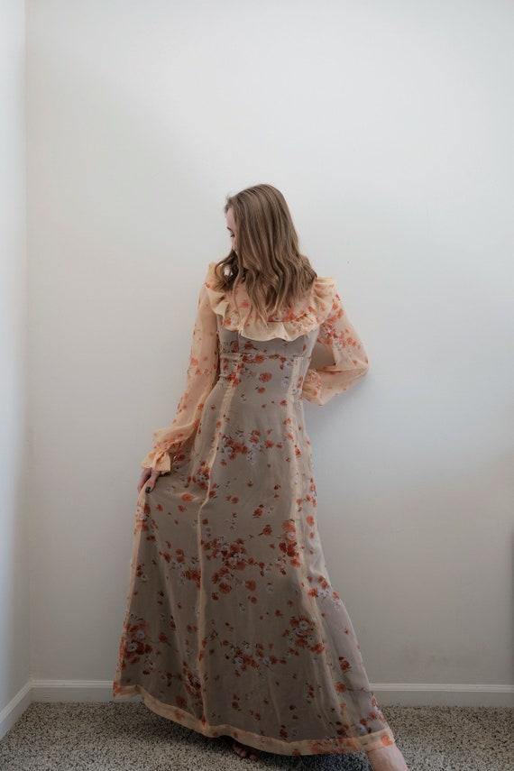 1970's Floral Organza Dress// Vintage Boho Spring