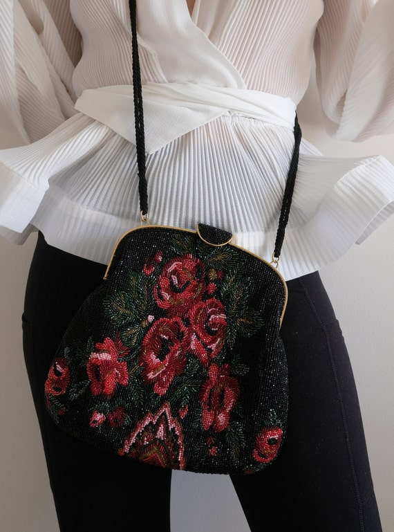 1980s does the 1950s Beaded Rose Purse// Vintage … - image 8