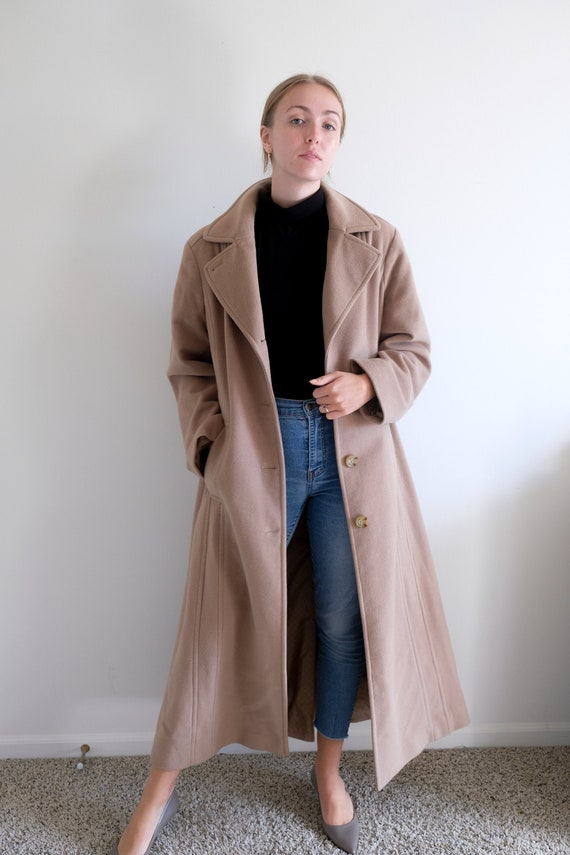 1980s Long Tan Pea Coat// Vintage Beige Full Lengt