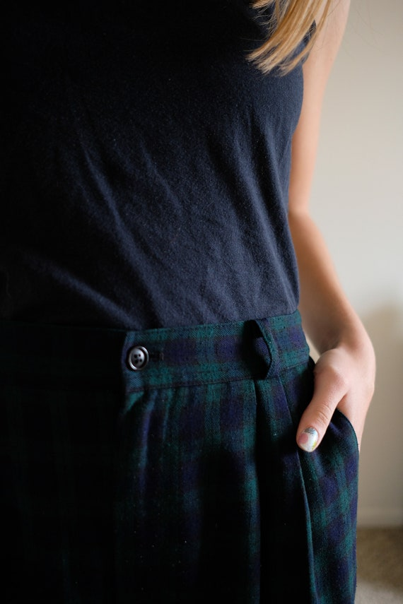 1980s Blue and Green High Waisted Plaid Pants// V… - image 9