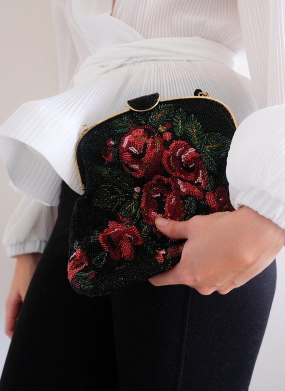 1980s does the 1950s Beaded Rose Purse// Vintage … - image 10
