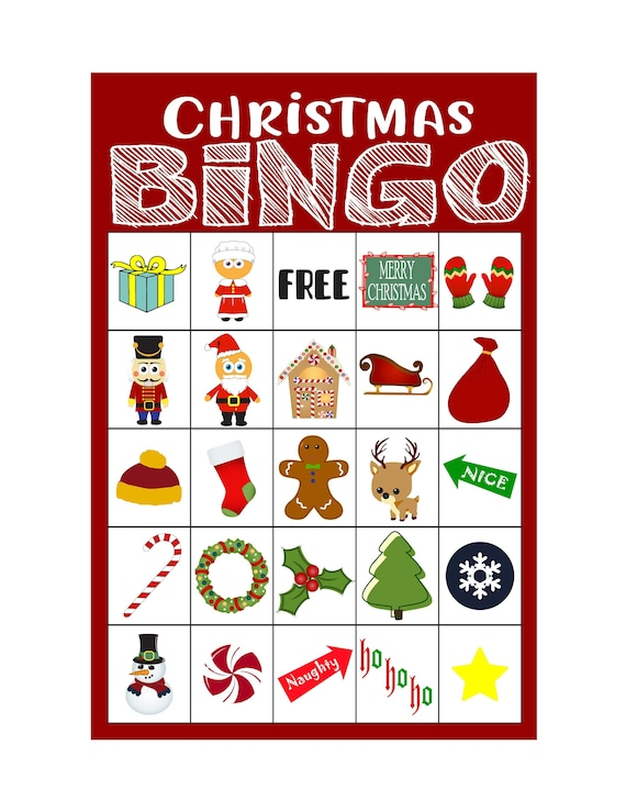 Zany image within printable christmas bingo