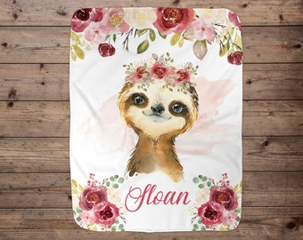 Baby Blanket Girl Sloths Flowers Can Be Personalized 36x40