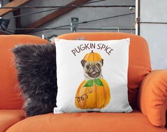 Pug Pillow   Pugkin Spice   Pugkin   Pumpkin Spice Pillow   Pug Gift   Funny Pug Gifts   Pug Funny   Pug Gift Ideas   Pug Decor   Pug Love & Halloween pug   Etsy