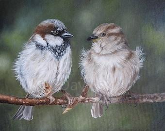 Sparrow Print, Bird fine art print, bird art print, Bird Painting, Bird Art, Sparrow Art