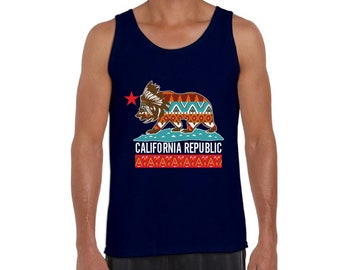 648f5ed1093a80 California Republic Tank Top for Men. Cali Bear Tribal Muscle Shirt. Cali  Gifts.