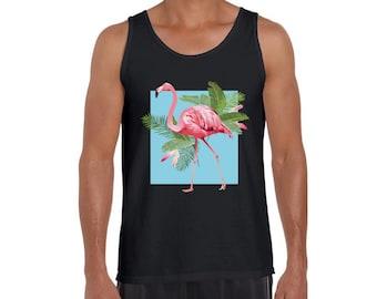 96988c1d Punk Flamingo Tank Top. Men's Pink Flamingo Muscle Shirt. Flamingos Tank.