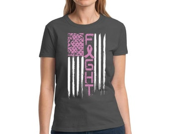 5e957a7c Fight Breast Cancer Shirt. Women's Breast Cancer Awareness Flag Shirt.