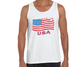 c1851665 USA Tank Top American flag tank 4th of July tank USA muscle shirt for men  usa Flag Top America gifts for him Independence Day Tank USA gifts