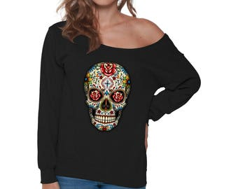 Day of Dead T Shirt Colorful Bull Skull Off Shoulder Tops for Women