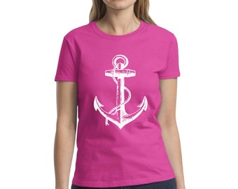 26467e94981 White Anchor Shirt Boat Anchor T-Shirt for Women Marine Gifts for Her U.S.  Navy Shirt Sailor Shirt Sailing Outfit Anchor Shirts for Women