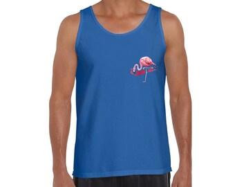 781bb44e Flamingo Pocket Tank Top. Men's Pink Flamingo Muscle Shirt. Flamingos Top.