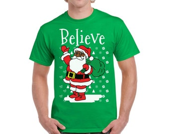 3f54fba8 Men's Christmas Santa Costume Shirts. Believe Ugly Christmas Shirt.