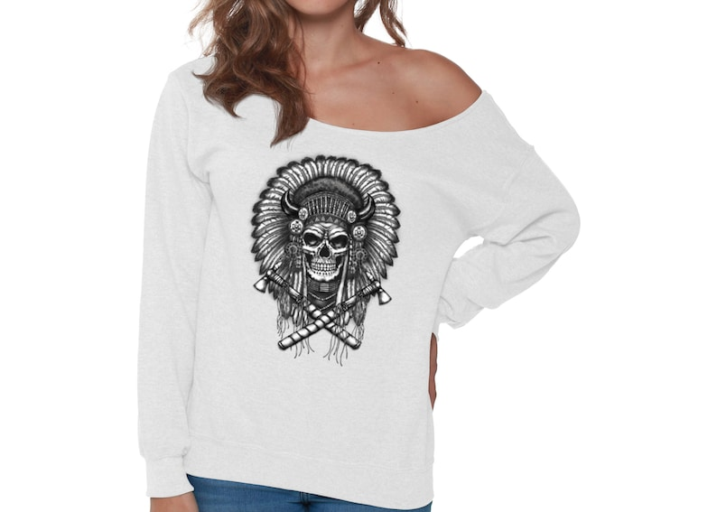 94218dedd69 Indian Headdress Skull Off Shoulder Sweatshirt for Women   Etsy