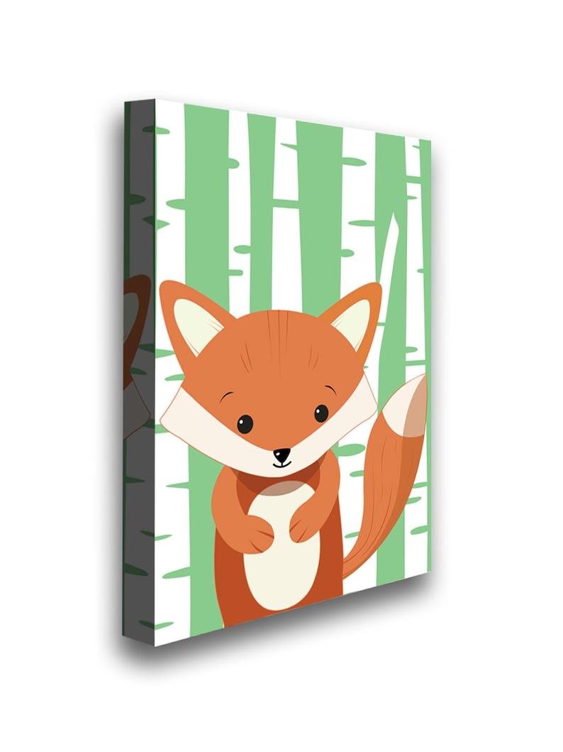 Fox Canvas Fox Wall Art Decor Kids Play Room Decor Cool Kids Room. Fox Picture Ready to Hang Fox Printed Canvas Girls Room Nifty Decor
