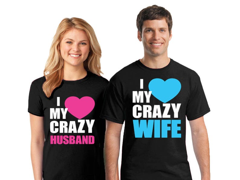 a96d667e36 Couples I Love My Crazy Husband/Wife T Shirt Valentine's | Etsy