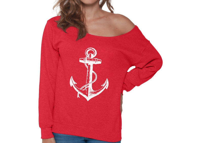 1c0a0bd9722 White Anchor Off Shoulder Sweatshirt Anchor Sweater for Women   Etsy