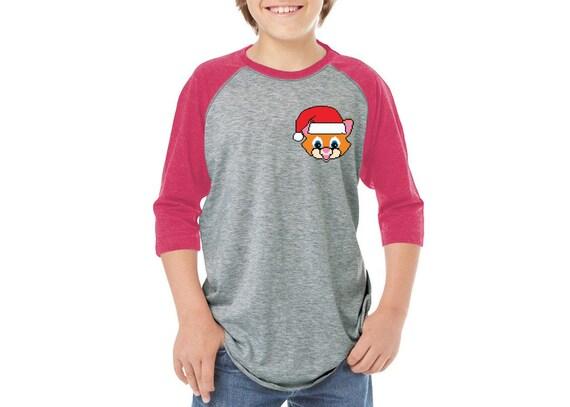 Girls Boys Ugly Christmas T-Shirt Santa Xmas Shark Toddler Raglan Shirt