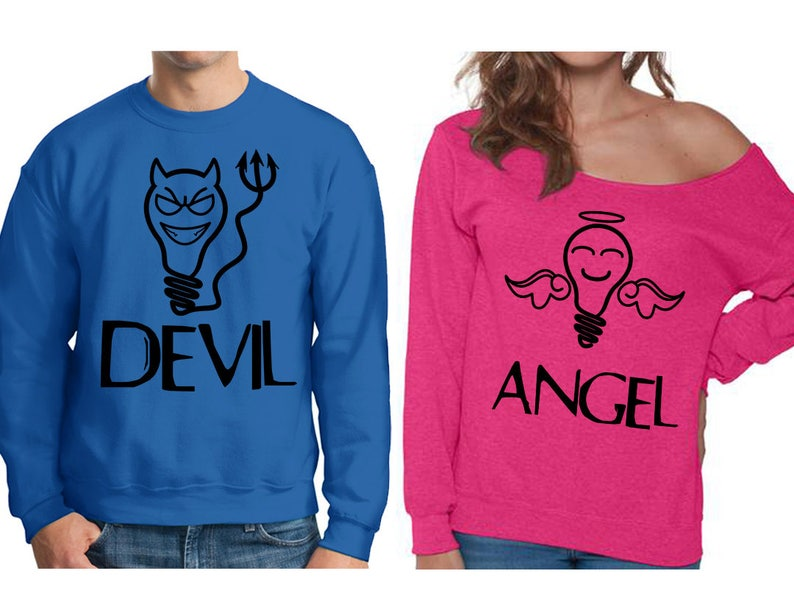 4ed7db5a48 Angel Sweatshirt Devil Sweatshirt Matching Couple Sweaters | Etsy