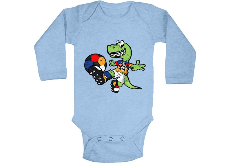 Dinosaur Colombia Baby Bodysuit Long Sleeve Colombian Baby Gifts Colombian Soccer Bodysuit for Baby Dinosaur Playing Soccer One Piece Top